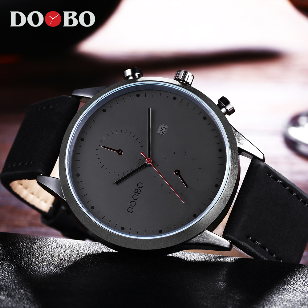 DOOBO Mens Watches Top Brand Luxury Leather Strap Casual Quartz Watch Men Military Sport Clock Wristwatch Relogio Masculino vinoce top luxury brand men military sport watches men s quartz clock male leather waterproof casual business wristwatch relogio