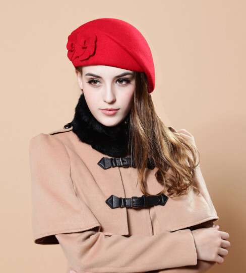 [FLB] новинка, модная женская шапка-берет для женщин, Шапка-бини, женская шапка, цветок, французская Трилби, шерсть, мягкая пилотка стюардессы, gorras planas - Цвет: red