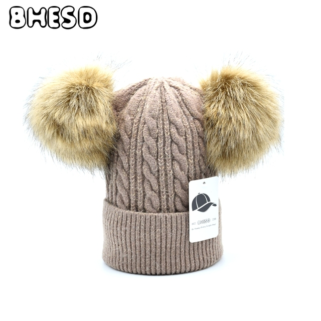 35f71d8b4ca BHESD 2017 Faux Fur Pompom Skullies Hat Children Double Pom Poms Acrylic Beanie  Hat Women Knitted Hat Winter Bones Feminin JY535