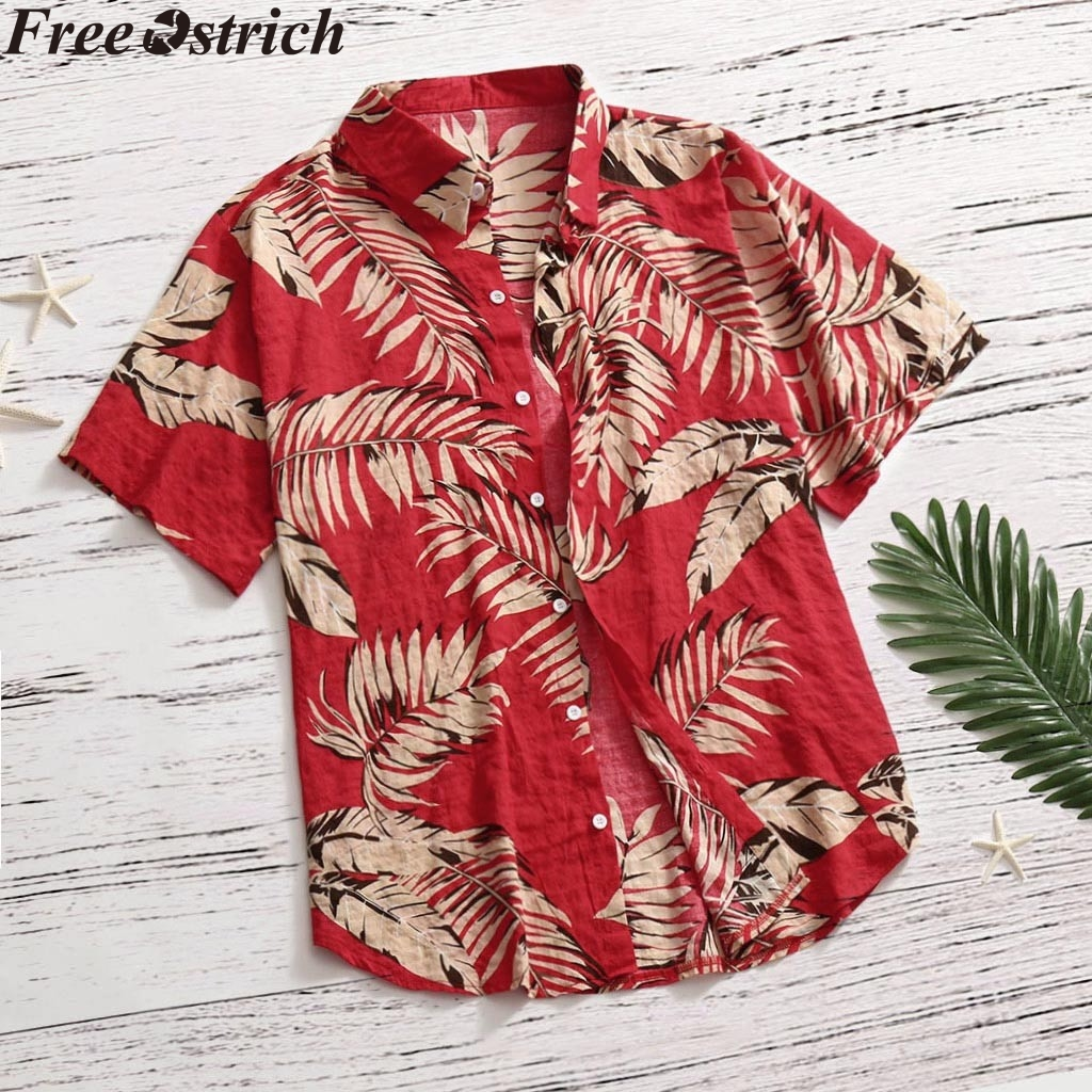 Print Shirt Apparel Short-Sleeve Button Collar Vacation Casual-Stand Hawaiian-Style Loose