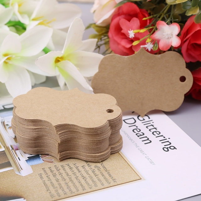 50x Wedding Invitations Card Kraft Paper Craft Favors Hang Tags