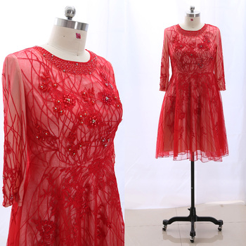 MACloth Red Sheath Scoop Neck Knee-Length Short Crystal Tulle Prom Dresses Dress 4XL 265266 Clearance