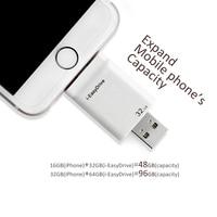 I-EasyDrive OTG USBแฟลชไดรฟ์ทำสำหรับiPhone 5 5C 5วินาที6 6พลัส6วินาทีบวก7/iPad ios/Mac/PC 32กิกะไบต์64กิกะไบต์สีขาวที่มีสูงค...