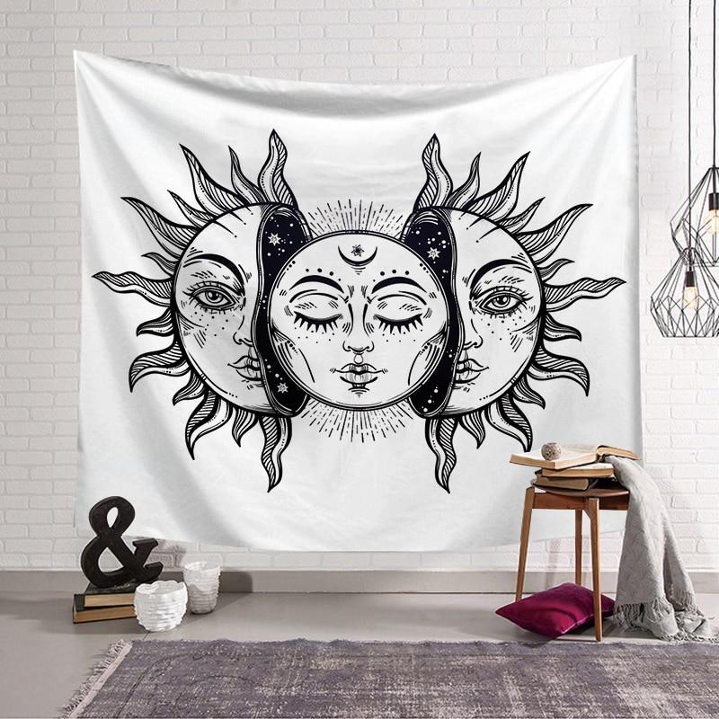PEIYUAN Indian Mandala Sun and Moon Galaxy Star Tapestry Wall Hanging Decorative Hippie Abstract Boho for Home Decor