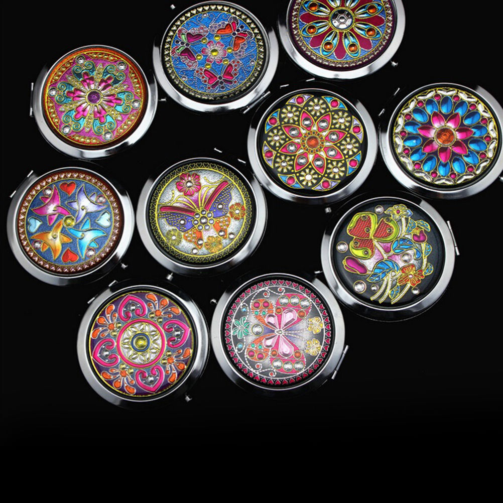 Crystal makeup mirrors new women fashion portable pocket for Wholesale mirrors