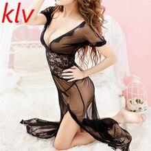 KLV Mulheres de Lingerie Hot Erotic Lace Sheer Elegant Lady lingerie Sleepwear Vestido Transparente Lingerie Sexy + Conjunto Corda