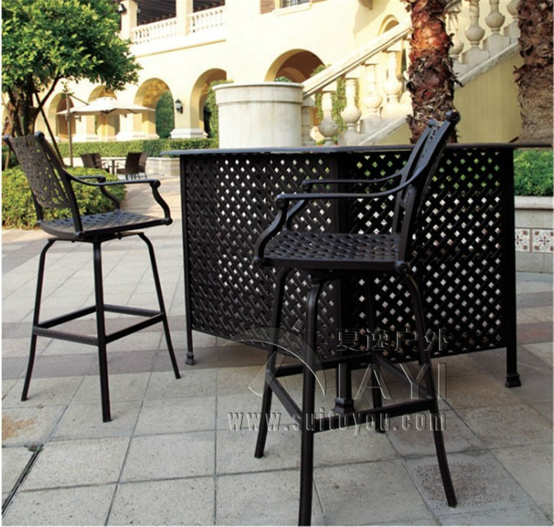 3-piece New design long bar table and chair cast aluminum garden furniture Outdoor furniture 3 piece cast aluminum table and chair patio furniture garden furniture outdoor furniture white