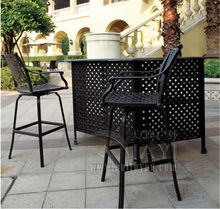 3-piece New design long bar table and chair cast aluminum garden furniture Outdoor furniture
