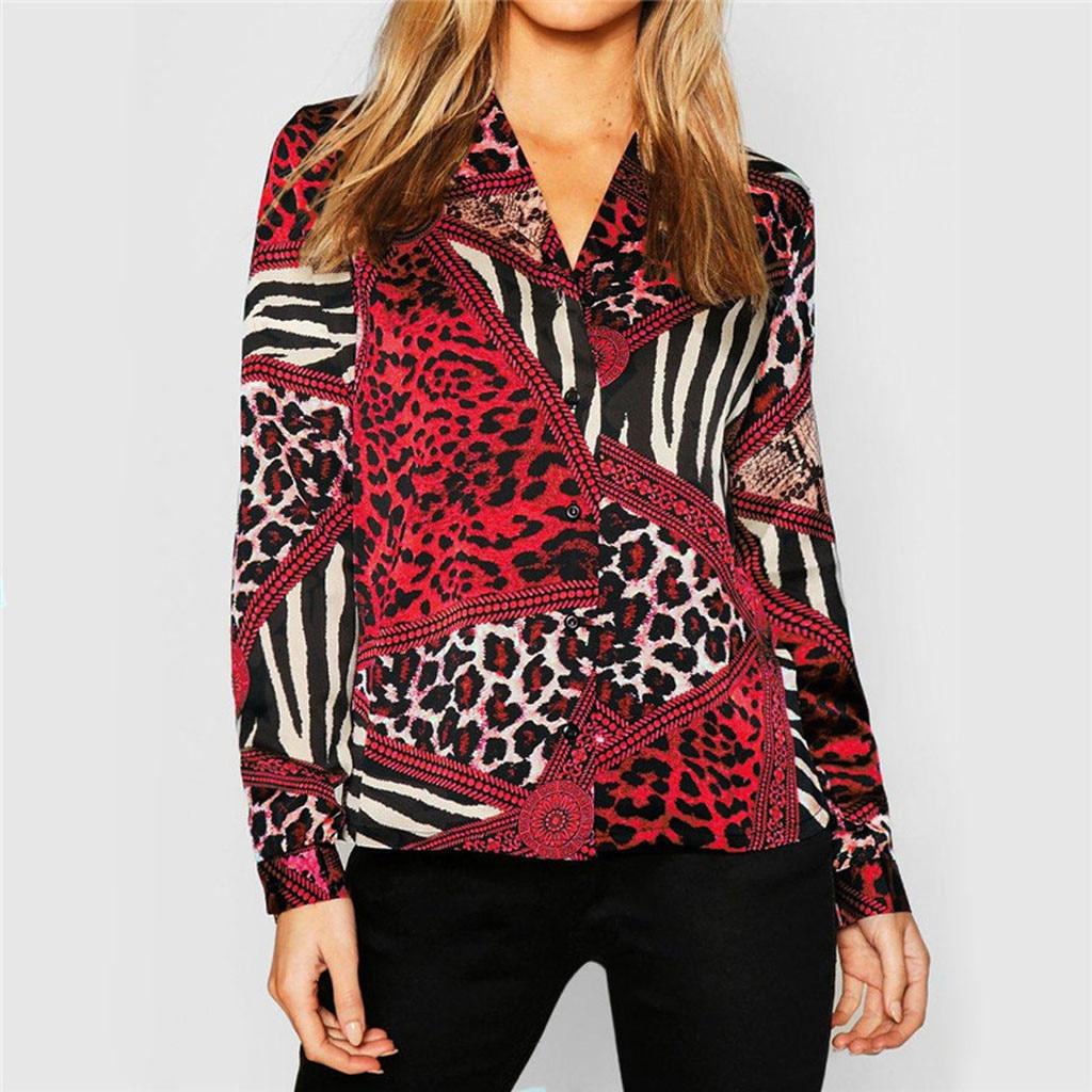 a7c3d7f4b6 De moda de mujer Casual Tops Blusa de gasa estampada con cuello en V  vestido de mujer de manga larga camisa Tops Blusas Femininas PT