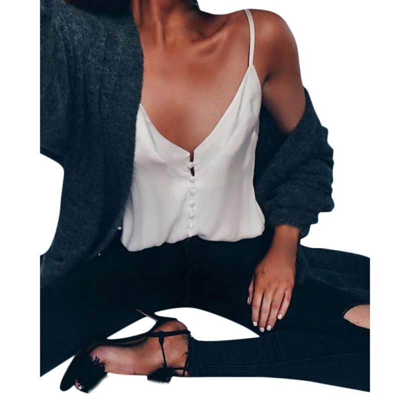 Women Chiffon Summer Vest Sleeveless V Neck Buttons Front Solid Tank Top White Blouse Summer Top Cami Hot Sale #BF kiind of new blue tourmaline women s xs sleeveless tank cami blouse $39 253