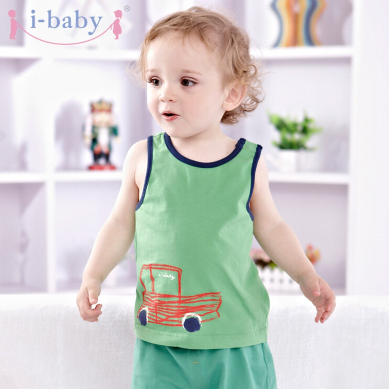 i-baby Baby Clothes Newborn Infant T-shirt Boy Girl 100% Cotton Tees Sleeveless Kids Cartoon T-Shirts Clothing Green Cartoon