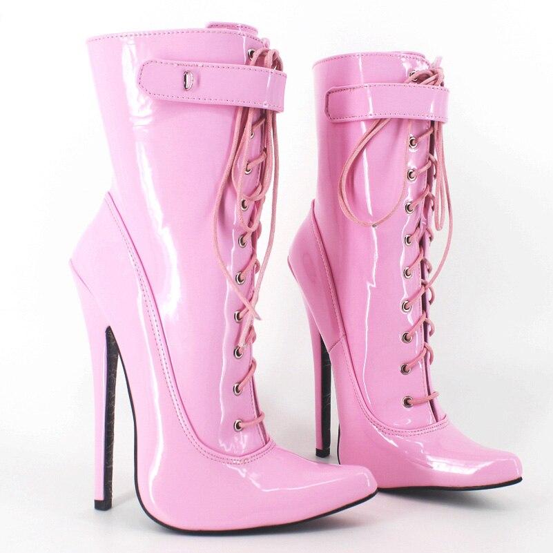 2016 Cuir Courtes rose Pointu En Hiver Haute 19 Noir Aiguilles Chaussures Femmes Talons Verni Bottes Bout Cheville Cm y8wv0mnON