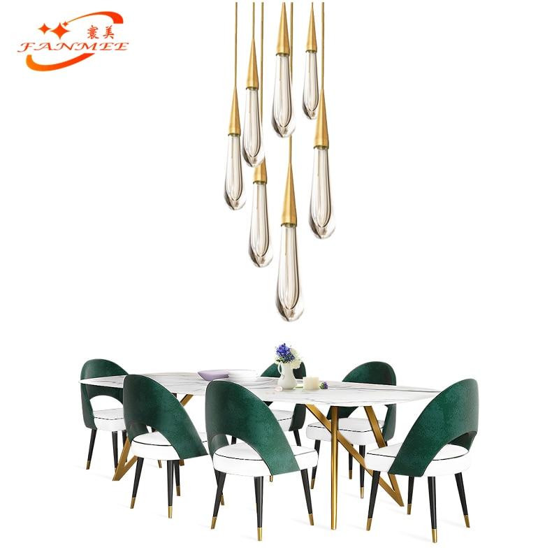Modern LED Pendant Light Singal Glass Water Drop Pendant Hanging Light Restaurant Living Dining Room LED Pendant Hanging Lamp