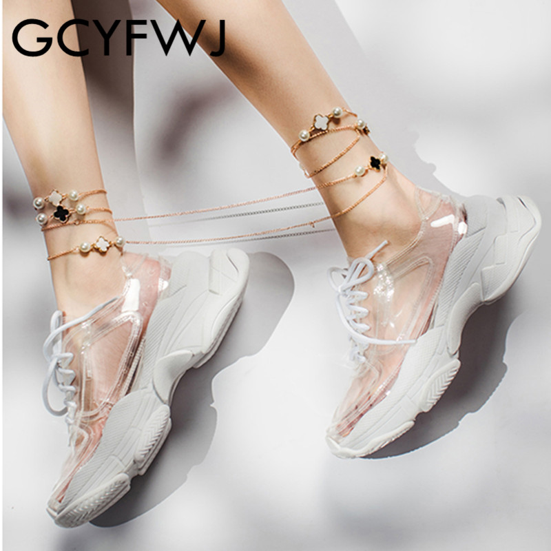 GCYFWJ Summer Transparent Pvc Trend Women Sneakers Ladies Lace Up Platform Jelly Shoes Woman Fashion Casual Shoes Ladies Shoes w Damskie buty z gumową podeszwą od Buty na  Grupa 2