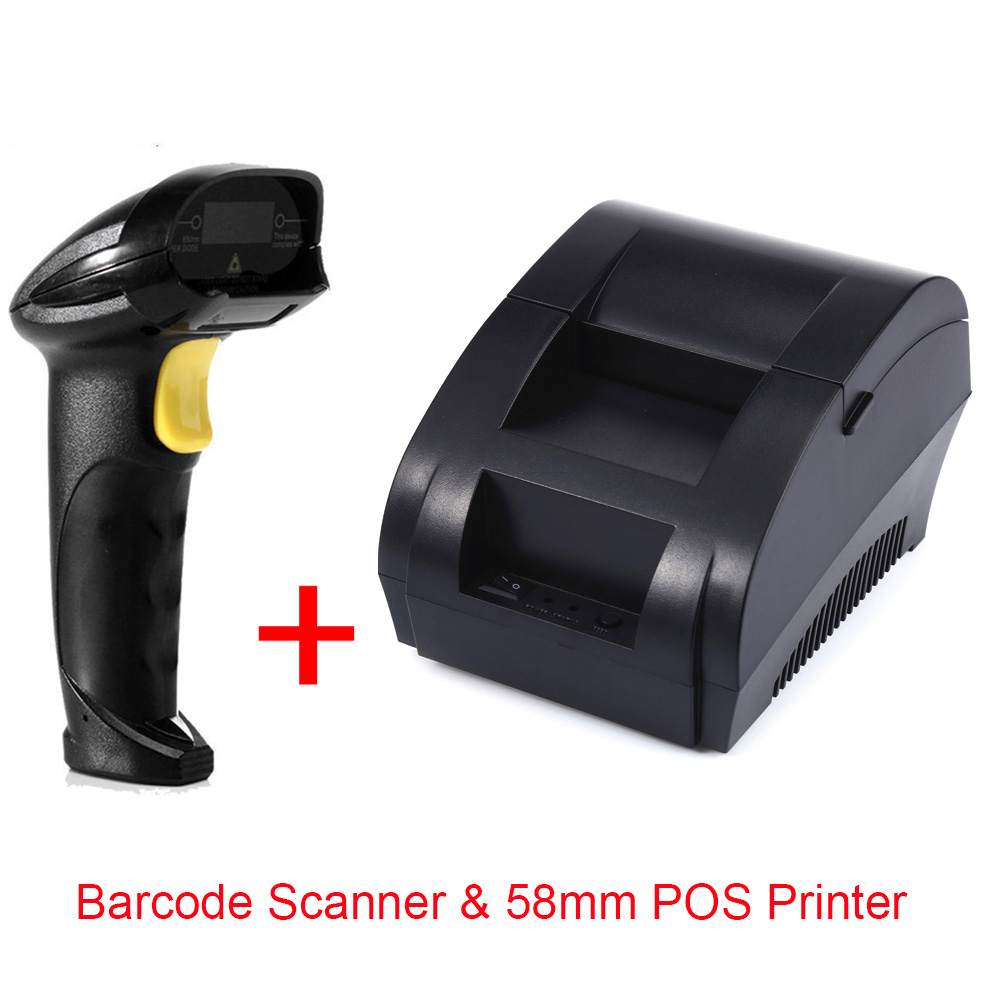 Free shipping Mini 58mm Thermal Printer Ticket POS Thermal Receipt Printer Wired Bar code Scanner Reader