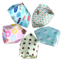 10pcs Baby Cotton Towel Slobber Triangle Waterproof Double Snap Pocket Scarf Children Summer Newborn Bib