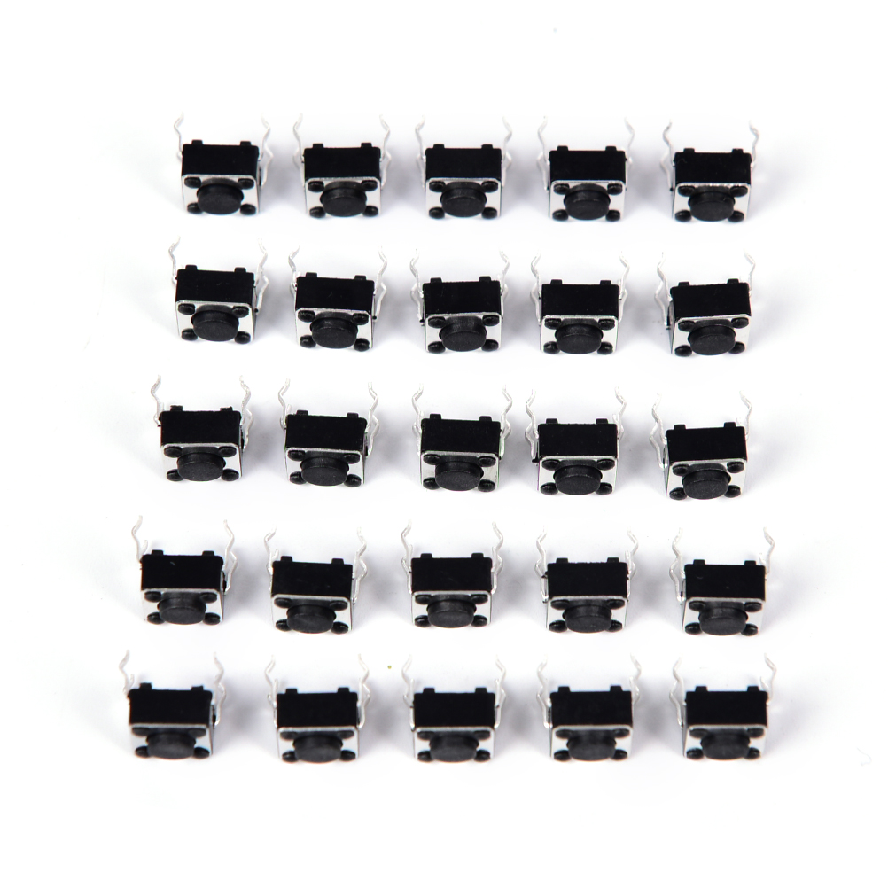 50pcs Hot Selling 4pin DIP Through-Hole Copper Cover Feet Tactile Push Button Momentary <font><b>Tact</b></font> Black <font><b>Switch</b></font> 6x6x5mm image