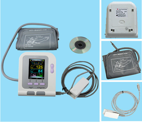 Digital Arm NIBP Monitor CONTEC08A + SPO2 Probe, Heart Beat Meter, With Oximeter function contec electronic digital arm blood pressure monitor 08c spo2 probe heart beat meter sphygmomanometer with oximeter probe