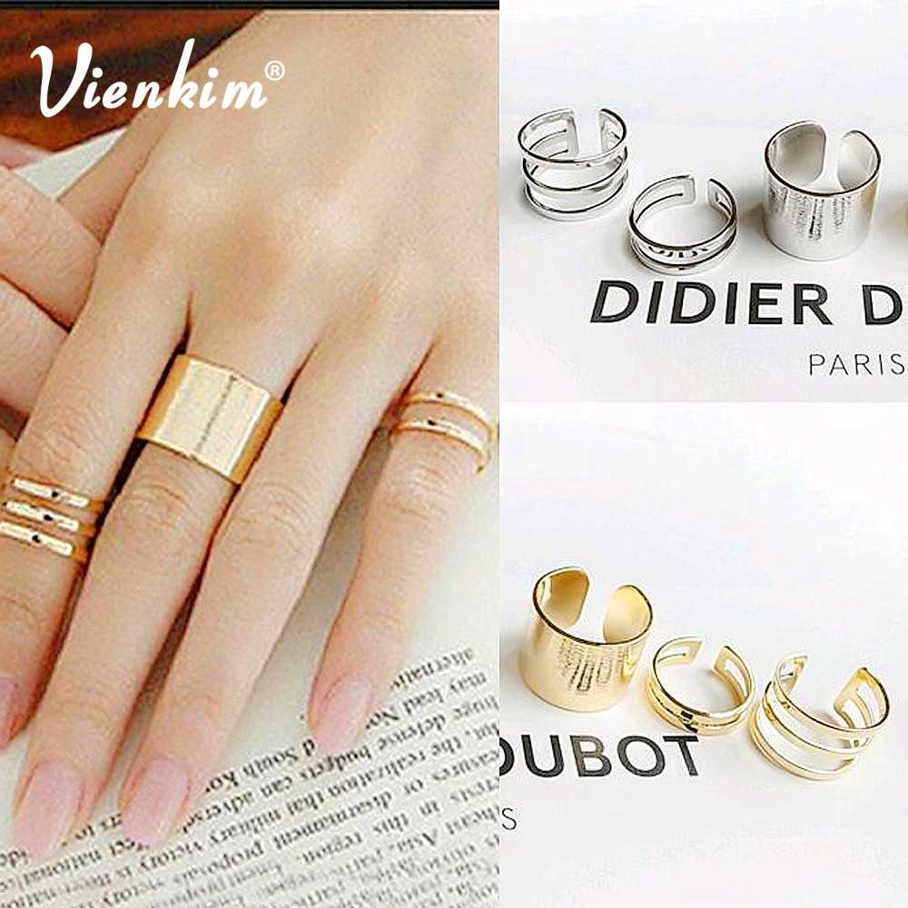 Vienkim 3Pcs. / Set. Fashion Top Of Finger Over The Midi Tip Finger Above The Knuckle Open Ring For women Fashion Jewelry R3