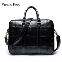 VIDENG POLO Leather Briefcase High Quality Man Bag Business Laptop Tote Male Crossbody Shoulder Bags Handbag