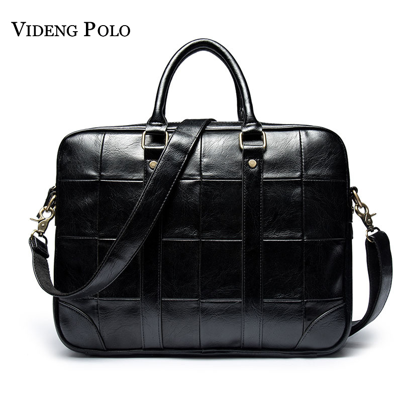 VIDENG POLO Leather Briefcase High Quality Man Bag Business Laptop Tote Male Crossbody Shoulder Bags Handbag Men's Messenger Bag vktery handbag men satchel pu leather male messenger crossbody bag business solid brown tote briefcase sling shoulder bags 3021