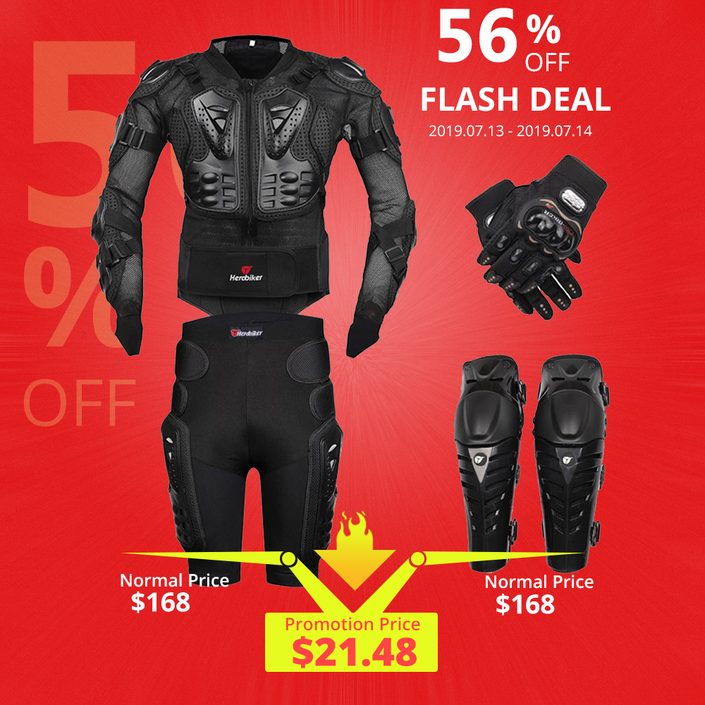 New Moto Motocross Racing Motorcycle Body Armor Protective Gear Motorcycle Jacket+Shorts Pants+Protection Knee Pads+Gloves Guard(China)