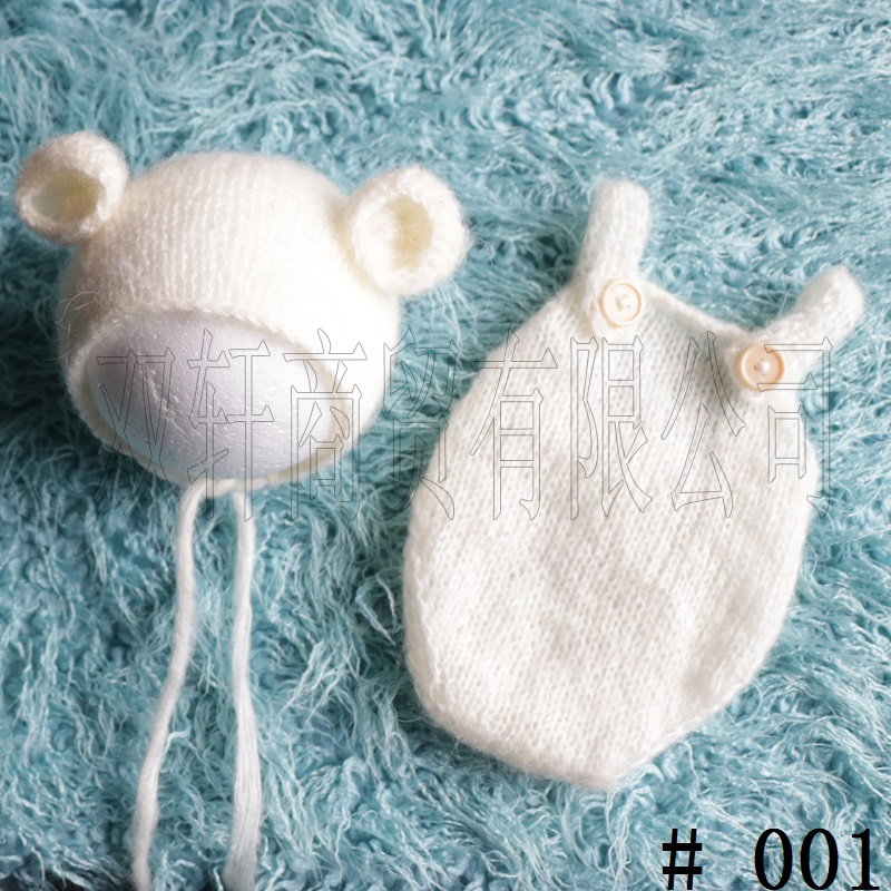 Handcraft Baby hand Knit Mohair Bonnet & pants on Baby Shower Gift Baby Photography Props