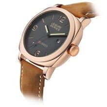 Brand Leather Strap Analog Men's Quartz Hour Date Clock Fashion Casual Sports Watches Men Military Wrist Watch CURREN 8158