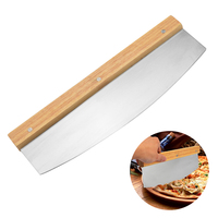 1Pc Half Moon Shape Pizza Cutter With Wood Handle Practical Rice Noodle Roll Knife Pizza Cake