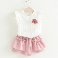 Girls Clothing Sets 2017 Brand Summer Style Kids Clothing Sets Flying Sleeve Hollow Out White T