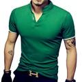 Venta caliente de la nueva manera hombres de la marca polo camisa de manga corta de color sólido slim fit hombres camiseta de algodón polo camisas casual camisa polo 5xl