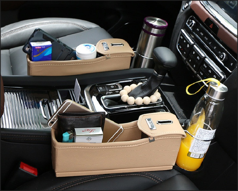 1pc/lot Car Seat Gap Leather Storage Box Coin Cell Phone Wallet Key Storage Bag Cup Holder Seat Slit Storage Box