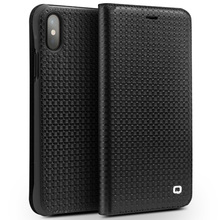 QIALINO Lizard and Grid Pattern Leather Flip Case for iPhone X