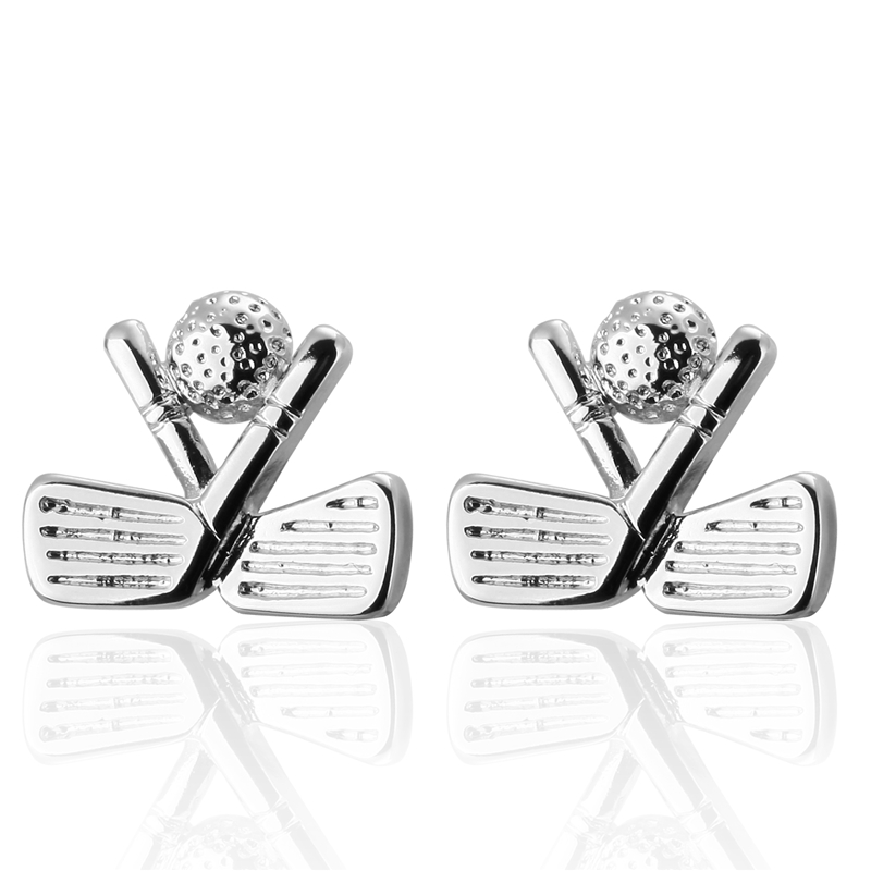 Mens shirts Cufflinks high-quality copper material Silver Golf Cufflinks 2 pairs of packaging for sale