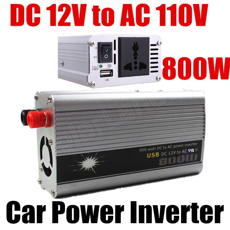 Car inverter 800W DC 12V to AC 110V converter modified sine wave voltage transformer with USB charger
