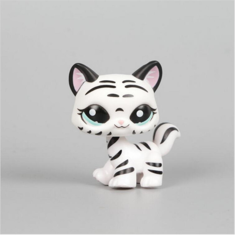 lps Pet shop Black & White Striped Cat Collection Child Loose Cute Figure Toys cat#1498 FREE SHIPPING lps toy pet shop cute beach coconut trees and crabs action figure pvc lps toys for children birthday christmas gift