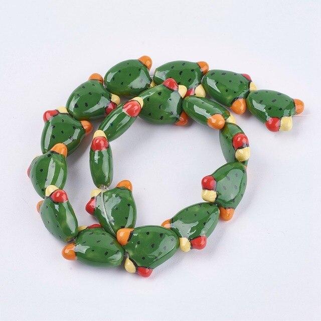 PandaHall 10pc 21x19x9mm à la main en porcelaine argile en céramique en vrac dur Cactus perles pour bijoux bricolage faisant artisanat couleur mixte