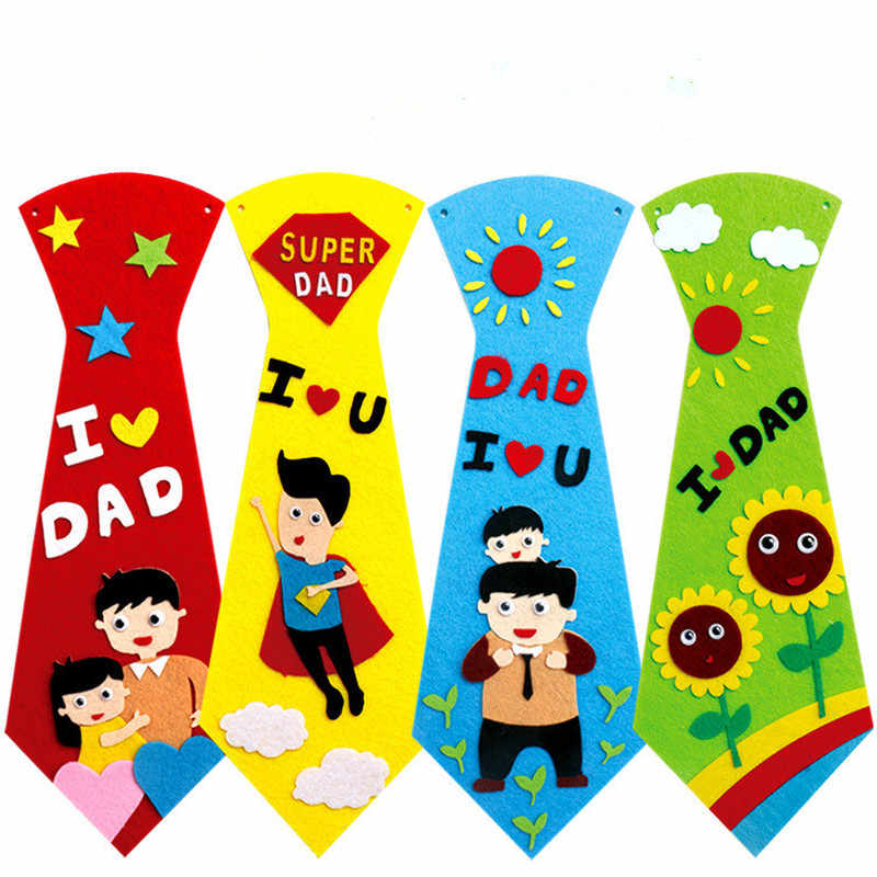 1PC Cute Creative Crafts DIY Ties Kindergarten Children Kids Handmade Educational Toys Fathers Day Gift Material Package