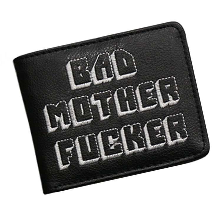 bad mother letter printing short Pulp Fiction Jules wallet men purse brand boy wallet gift purse card holder vintage coin pocket