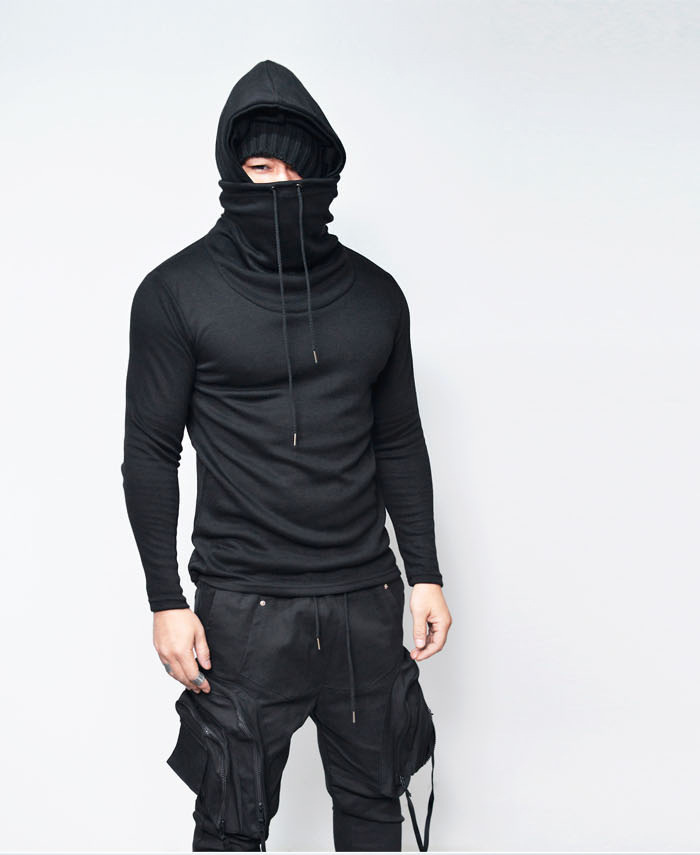 Cowl Neck Turtleneck T Shirt Men 2018 Brand New Long Sleeve Hooded Tee Shirt Homme Casual Loose Hip Hop Dark Wind Style Top Tees