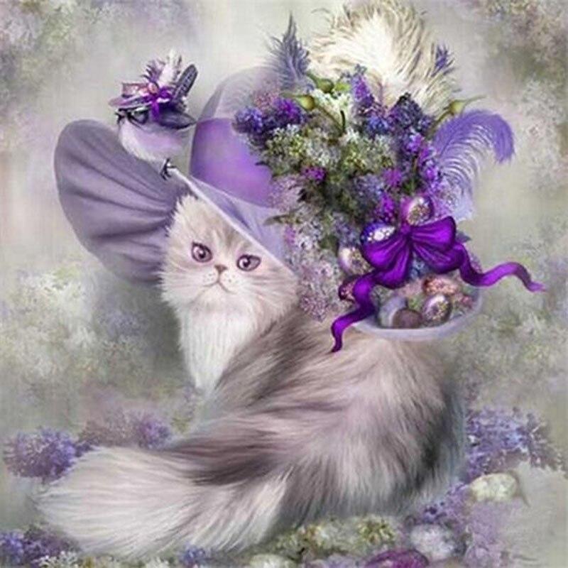 ᗑGato aristocrático animal mosaicos cheia de diamantes pintura ...
