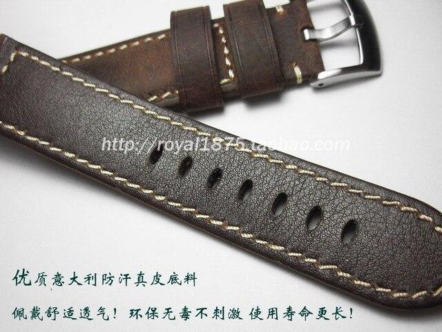 22 24mm homme italie ceinture en cuir véritable ceinture grasse Applicable pour Panerai Omega Mido Casio montre Bracelet sangles fissure Bracelet