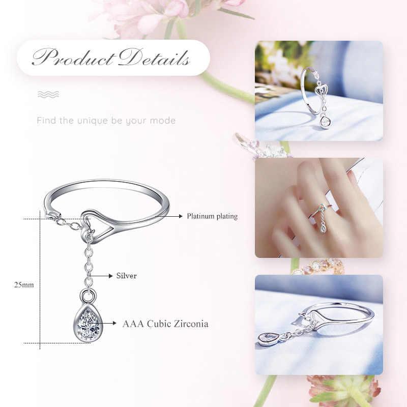 Umode Waterdrop 925 Sterling Zilveren Ringen Voor Vrouwen Open Verstelbare S925 Ringen Fashion Party Bruiloft Sieraden Accessoires LR0742