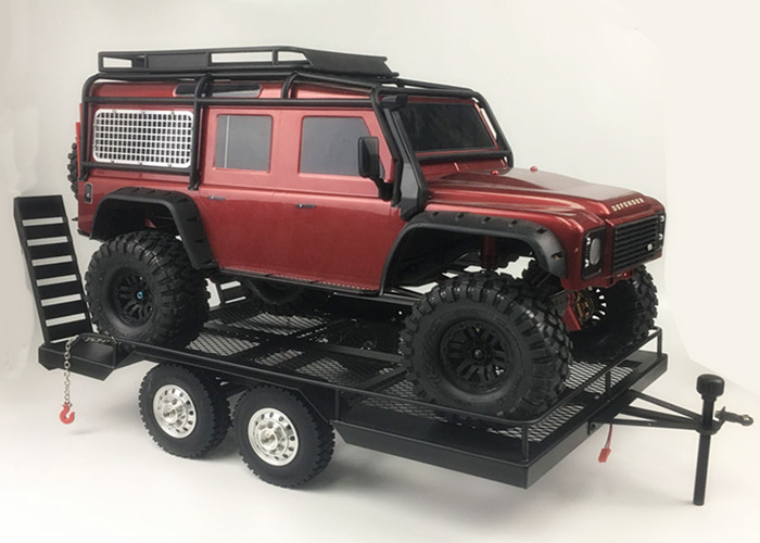 Bouble As Heavy Duty Alle Metalen Trailer voor 1/10 Rc Rock Crawler Truck Traxxas Trx4 Axiale Scx10 90046 90047 Cc01 d90 D110 - 2