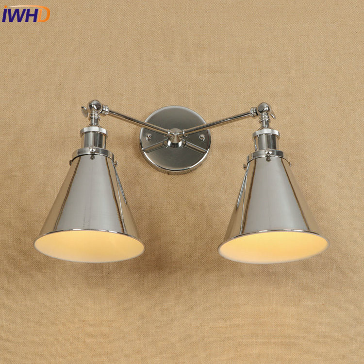 IWHD RH Retro Loft LED Wall Lamp E27*2 Vintage Industrial Wall Light Iron Adjustable Sconce Fixtures Home Lighting Luminaire vintage wall lamp retro wall light loft luminaire home lighting industrial wall sconce modern 220v light fixtures abajur e27