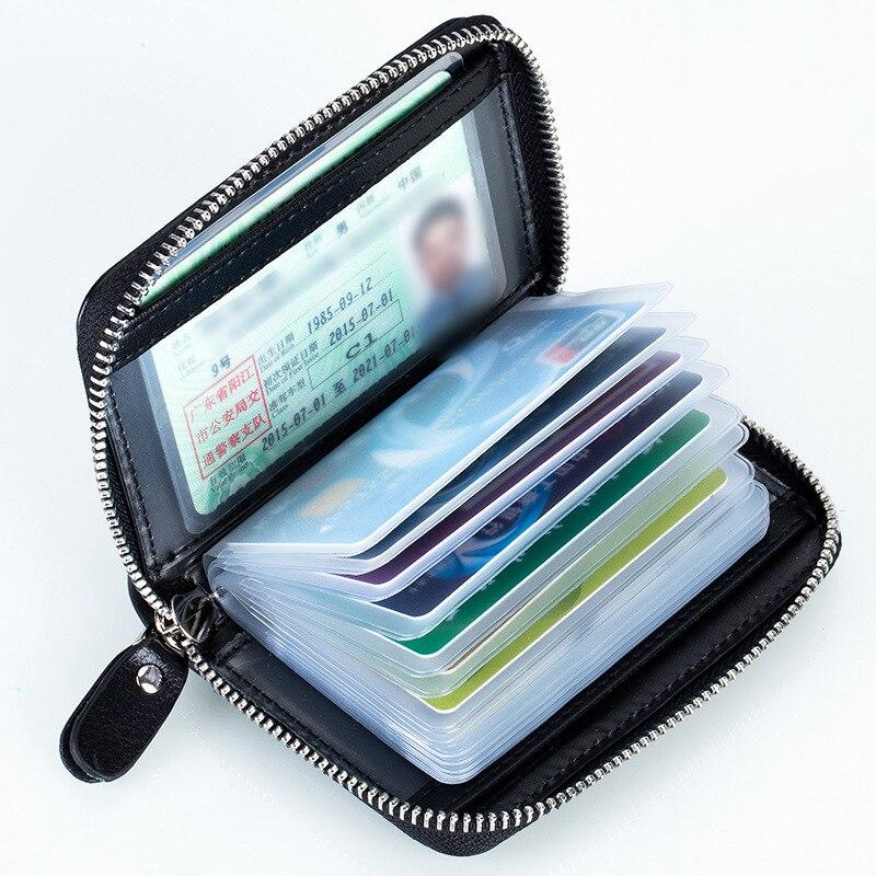 Fashion Zipper Card Holder Split Cow Leather Cardholder Case Men font b Women b font Mini