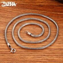 ZABRA 925 Sterling Silver Round Snake Bone Necklace  Lovers Punk Trendy Thanksgiving Birthday Wedding Jewelry