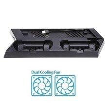 Mutilfunction Вентилятор охлаждения Cooler вертикальная подставка консоль кулер вентилятор с двойной зарядная станция для PS4 Slim консоли