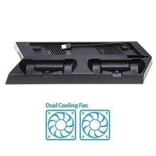 Mutilfunction Вентилятор Охлаждения Cooler Вертикальная Подставка Вентилятор Охлаждения С Двойной Зарядная Станция для PS4 Slim Консоли