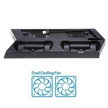 Mutilfunction Cooling Fan Vertical Stand for PS4 Slim Console Dual Charging Station Cooler Fan for PlayStation 4 Slim Console